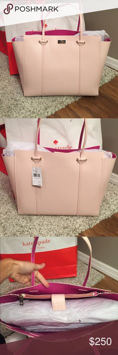 """❤️Kate Spade XL Annelle Tote❤️ ⭐️⭐️NWT Kate Spade Annelle XL Tote.. Color is Light Pink with Sweetheart Pink Inside.. 🔹Genuine smooth leather with matching trim🔹14-karat light gold plated hardware🔹Magnetic snap strap closure*Dual flat leather handles with 9.5″ drop🔹Unlined interior in sweetheart pink color🔹Interior features large zip pocket and two slide pockets🔹Protective metal🔹Approximate dimensions: 12″ H x 18″ L x 5.5""""W.. 🚫NO TRADES🚫💥Less on Ⓜ️💥💥FIRM FIRM FIRM ON THIS…"""