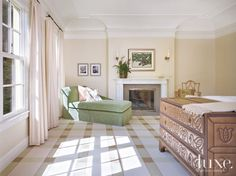 Traditional Neutral Bedroom with Plaid Carpet