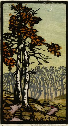 Autumn Sycamore ; Frances Gearhart 1986-1958. Woodcut 6.5 x 3.5 ins, ca 1920