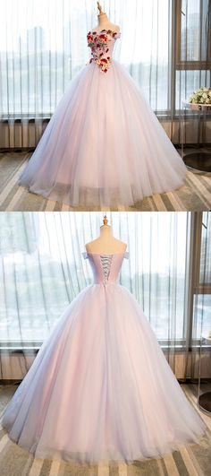 Elegant Appliques Tulle Ball Gown Prom Dresses, Formal Quinceanera Dresses, Charming Evening Gown, Shop plus-sized prom dresses for curvy figures and plus-size party dresses. Ball gowns for prom in plus sizes and short plus-sized prom dresses for Long Prom Gowns, Ball Gowns Prom, Formal Evening Dresses, Ball Dresses, Evening Gowns, Evening Party, Vestidos Color Blanco, Pretty Dresses, Beautiful Dresses