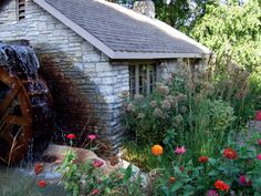 A little cottage with a water wheel at the Como Zoo in Saint Paul, MN  September 2011