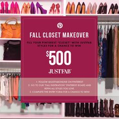 Pin to Win $500! Enter the JustFab Fall Closet Makeover Contest by re-pinning your favorite styles from our Fall Inspiration board, and submitting your pins here: www.facebook.com/...