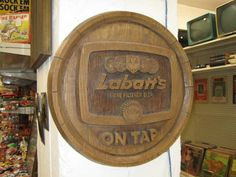 hand carved, wooden labatt's sign. awesome bar item, man cave