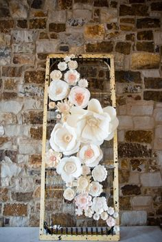 Paper flower backdrop- love this idea with a gold frame- moss throughout the middle & arrangement matching the bouquet on it along with paper flowers Paper Flower Backdrop Wedding, Paper Flower Decor, Flower Crafts, Flower Decorations, Wedding Flowers, Wedding Decorations, Wedding Ideas, Boho Wedding, Wedding Photos