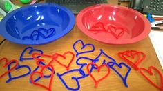 Valentine's day activity for toddlers! Use pipe cleaners and twist into heart shapes then match the colors in the correct bowl. I work with one year olds just starting to learn matching and colors, so I only used two colors but you can make more for the more advanced matcher!! <3