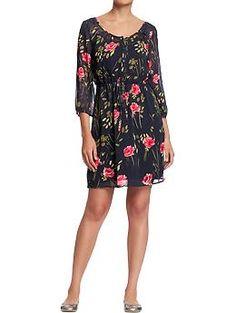 Women's Floral-Chiffon Drawstring Dress (Gray Floral). Old Navy. $32.94