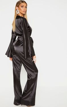 The Tall Black Ruched Waist Satin Jumpsuit . Head online and shop this season's range of tall at PrettyLittleThing. Petite Jumpsuit, Satin Jumpsuit, Midi Skater Dress, Satin Material, Green Lace, Blouse Dress, Satin Dresses, Black Satin, Silk Satin