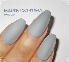 Ballerina Coffin False Nails Matte Grey Fake by nhqofficial