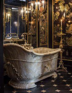 "- Château de Villette: The Splendor of French Decor Photo by Bruno Ehrs for ""Château de Villette. The splendor of French decor"", published by Flammarion. Dream Bathrooms, Beautiful Bathrooms, Luxurious Bathrooms, Future House, My House, Gothic House, Aesthetic Rooms, French Decor, French Chateau Decor"