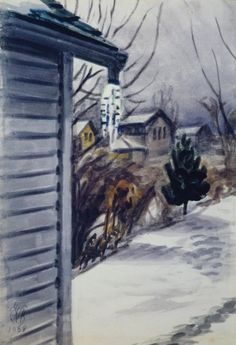 Charles E. Burchfield (1893-1967), Late Winter Afternoon, 1938; watercolor on paper, 14 1/2 x 10 inches; Burchfield Penney Art Center Archives