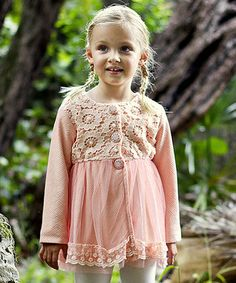 Pink Pearls & Flowers Lace Jacket - Toddler & Girls