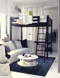 Bedroom and living room in one - small space design