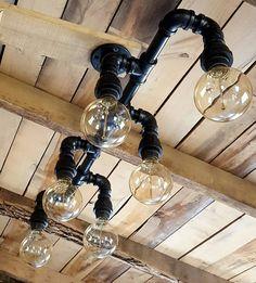 Rustic Industrial Lighting Chandelier by FarmsteadIronworks