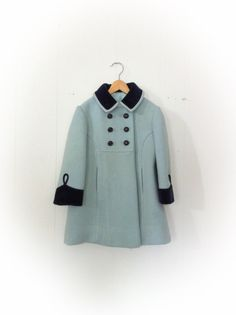 Vintage 1960s Girl Childs Coat Rothschild of Philadelphia Aqua Wool and Blue Velvet Trim