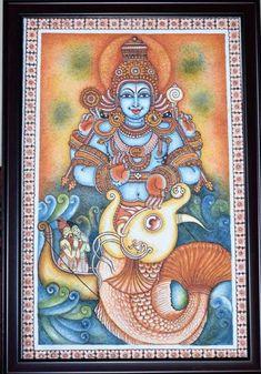 Choose your favorite kerala mural paintings from millions of available designs. All kerala mural paintings ship within 48 hours and include a money-back guarantee. Kerala Mural Painting, Madhubani Painting, Indian Art Paintings, Mural Wall Art, Murals, Hindu Art, Shiva Art, Avatar, Indian Folk Art