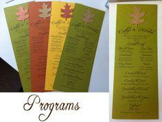 Fall themed programs... :  wedding Programsedited