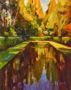 Quiet Reflection from the Bloedel Reserve, plein air, oil, landscape painting by Robin Weiss