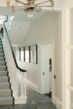 Contemporary hallway ideas image of decorating Decor, Traditional Staircase, Hall Paint Colors, White Kitchen Ceiling, Staircase Design, Contemporary, Staircase, Staircase Makeover, Contemporary Hallway