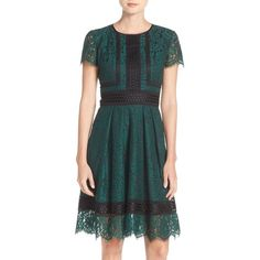 Petite Women's Eliza J Lace Fit & Flare Dress ($178) ❤ liked on Polyvore featuring dresses, green, petite, lace fit-and-flare dresses, green lace cocktail dress, fit and flare cocktail dress, petite dresses and lace cocktail dress