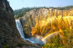 Happy 143rd birthday, Yellowstone National Park! On this day (03/01) in 1872, Yellowstone became the first national park.  Today, millions visit Yellowstone to discover the park's geysers and mud pots, forests and lakes, and historic cabins and prehistoric sites — not to mention it's stunning waterfalls. Pictured here is a rainbow at Lower Falls on the park's Uncle Tom trail. Photo by Kallem Phillips