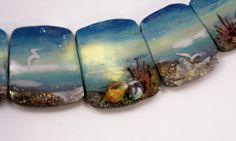 Handmade Polymer Clay Statement Focal 5 Bead Set -Panorama Graduated…