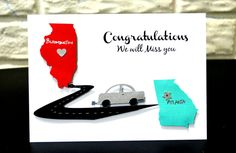 Moving Card, Congratulations Card, States Moving Card, Bon Voyage Card, New Job Card, Miss you Card, Customized card, Customizable Card by NishsCreations on Etsy
