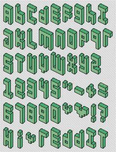 Cross Stitch 3D Pixel Font Pattern