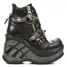 Chaussures New Rock Neo Cuña Sport Noires à Boucles M.SP0003-C1