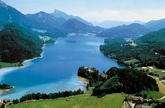 Lake Fuschl, Austria - seen in opening aerial shots in The Sound of Music. Located about 40 minutes outside of Salzburg. Holiday Destinations, Travel Destinations, Destination Beauty, Sound Of Music Movie, Das Hotel, Seen, Beautiful Places In The World, Amazing Places, Sissi