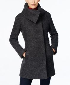 A textured envelope collar gives this warm, wool walker coat from Cole Haan chic style. | Wool/polyester; lining: polyester | Dry clean | Imported | Envelope collar | Asymmetrical snap-button overlay