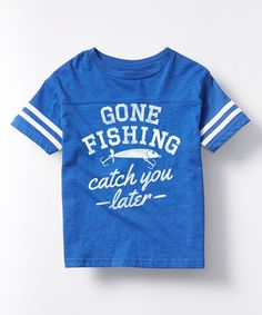 Royal Blue 'Gone Fishing' Football Tee - Toddler & Kids