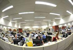 O andar intermediário da construção, no qual trabalham 355 pessoas. Foto: Everton Amaro/Fiesp