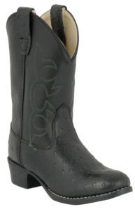 Old West JAMA Childrens Ostrich Print Western Boots - Black | Cavender's
