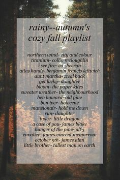 i've made a fall playlist before and it actually has most of these songs on it! Fall Playlist, Song Playlist, Music Mood, Mood Songs, Playlist Tumblr, Playlists, Herbst Bucket List, Song Suggestions, Autumn Cozy