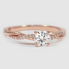 Petite twisted vine diamond ring in 14 carat rose gold Solitaire , a type of Ring Rosegold, Rose Gold Diamond Ring, Rose Gold Engagement Ring, Wedding Rings Rose Gold, Rose Gold Rings, Rose Gold Promise Ring, Petite Engagement Ring, Pretty Engagement Rings, Engagement Jewelry