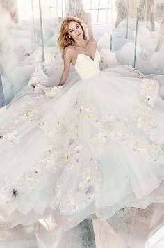 I ADORE the pop of color on the flowers for this one Hayley Paige Bridal Gowns, Wedding Dresses Style by JLM Couture, Inc. 2016 Wedding Dresses, Bridal Dresses, Gown Wedding, Hailey Page Wedding Dress, Wedding Dresses With Color, Couture Wedding Gowns, Hayley Paige Bridal, Beautiful Gowns, Dream Dress