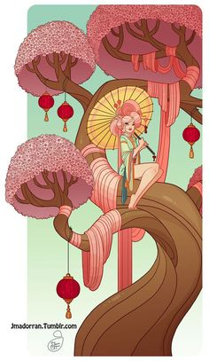 Character Design - Cherry Blossom Tree Lady by MeoMai on DeviantArt Cherry Blossom Tree, Blossom Trees, Tree Artwork, Cool Artwork, Fantasy Character Design, Character Art, Evvi Art, Dibujos Cute, Tree Illustration