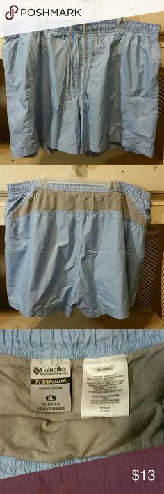 "Womens Columbia Titanium Shorts Sz XL Womens (?) Columbia Titanium Shorts with built in underclothes clothes. Sz XL Baby Blue and Gray  Good condition Inseam: 4"" Leg Opening: 14"" Waistline elastic stretch: 17"" Waistline to bottom hem: 16"" Columbia Shorts"