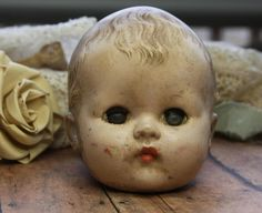 Vintage Doll Head Sleepy Eyes Scary Doll Part by VintageSupplyCo