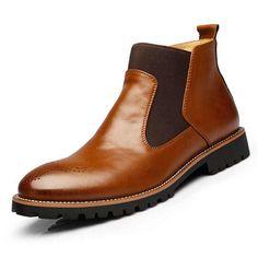 0d752e0be4c Men Comfortable Genuine Leather Elastic Band Ankle Boots - US$61.62  Δερμάτινα Είδη Για Άνδρες,