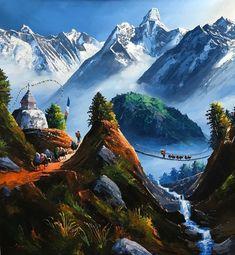 Mount Everest Sunrise View From Tengboche Nepal Original Painting Landscape Tattoo, Watercolor Landscape, Landscape Paintings, Watercolor Paintings, Original Paintings, World Famous Painters, Nepal Art, Cheap Art, Coastal Wall Art