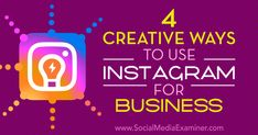 4 Creative Ways to Use Instagram for Business http://www.socialmediaexaminer.com/4-creative-ways-to-use-instagram-for-business?utm_source=rss&utm_medium=Friendly Connect&utm_campaign=RSS @smexaminer