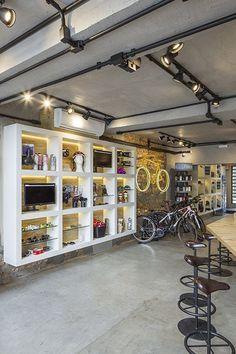 New bike logo autos ideas Bicycle Cafe, Bicycle Store, Bike Parking Rack, Shoe Store Design, Bike Logo, Warehouse Design, Tyre Shop, Garage Design, Shop Interiors