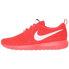 Nike Women Roshe Nm Flyknit Sneakers ($120) ❤ liked on Polyvore featuring shoes, sneakers, neon coral, coral sneakers, nike, neon coral shoes, nike trainers and rubber sole sneakers
