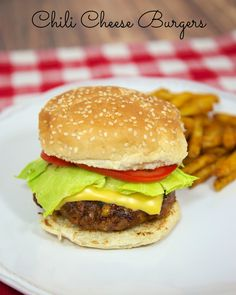 Chili Cheese Burgers - burgers seasoned with chili seasoning  and packed with cheddar cheese.