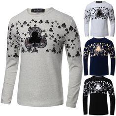 Sale 28% (16.28$) - Men Fall Winter Cotton Blend Poker Printed Long Sleeve O-neck T-shirt 4 Colors