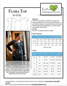 Flora Top Ladies Simple Shirt Sewing Pattern by StitchUponaTime