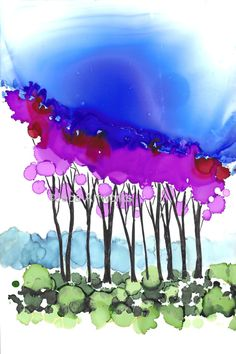 """4 x 6 Glossy Print of """"Fall Trees"""" from Original Alcohol Ink Painting. With Mat"""