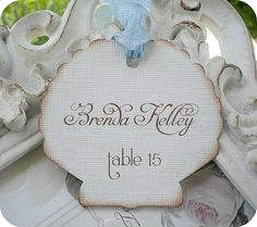 Personalized Seashell Escort Card Tags  by LittlePaperFarmhouse, $24.95