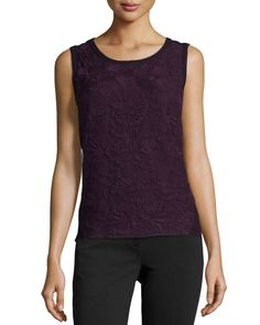 Laundry by Shelli Segal Embroidered Combo Tank, Blackberry, Women's, Size: 2